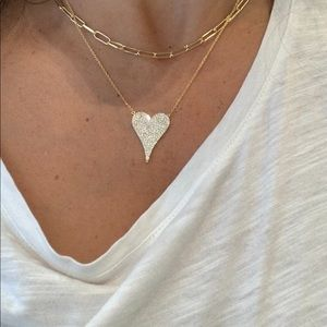 One pave heart necklace 3/4 inch heart necklace